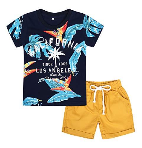 Kantenia Bebê Conjunto de vestuário para meninos pequenos T Camisa Curta Conjunto California Outfits Manga Curta Dinossauro Verão