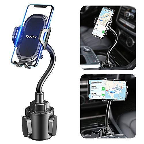 Cup Car Phone Holder for Car - RAXFLY Hands Free Adjustable Long Gooseneck Cup Phone Car Holder Mount Compatible with iPhone 12 Pro Max Samsung Note 20 S21 Plus Smartphone