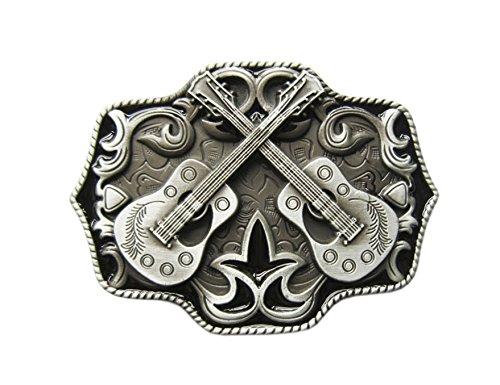 Schnalle123 Gürtelschnalle Country Music Musik Western Gitarre 3D Optik für Wechselgürtel Gürtel Schnalle Buckle Modell 111