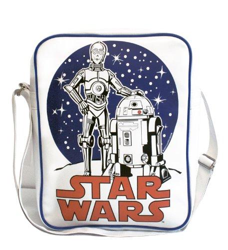 Tasche Krieg der Sterne - Star Wars - C-3PO R2-D2 - Umhängetasche - Schultertasche - Sporttasche - Weiss - Kunstleder - Lizenziertes Originaldesign - LOGOSHIRT