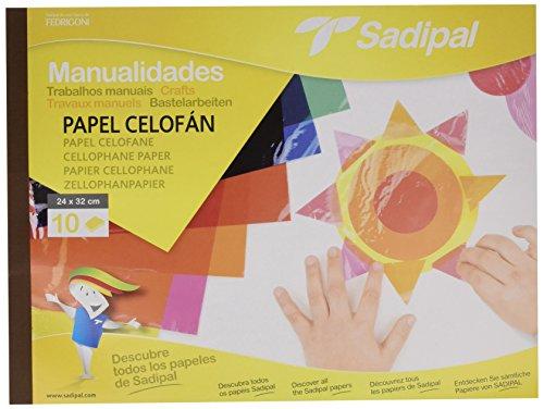 Sadipal 936180 - Cuaderno de manualidades papel celofán, 10 hojas, multicolor