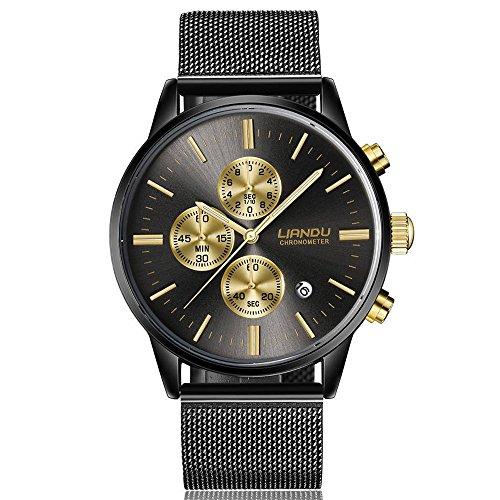 Uhren Unisex Armbanduhr Damen Herren Klassisch Uhr Neu Leder Wristwatch Stainless Steel Dial Quartz Wrist Watch mit Uhrenarmband,ABsoar