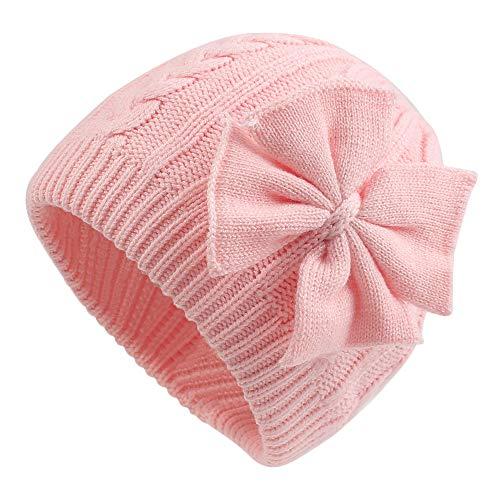 Pesaat Winter Baby Mütze Mädchen Wintermütze Baumwolle Warme Strickmütze Süßen Strickschleife Mädchen Beanie Mütze [MEHRWEG] (rosa, 0-6Monate)