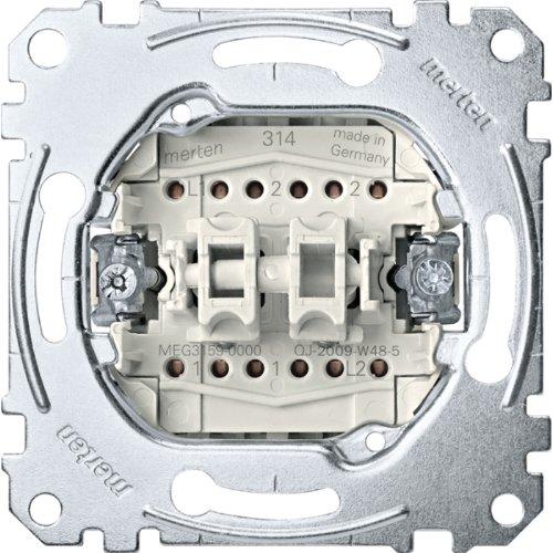 Merten MEG3159-0000 Doppeltaster-Einsatz, 2 Wechsel 1-polig, 10 A, AC 250 V, Steckklemmen