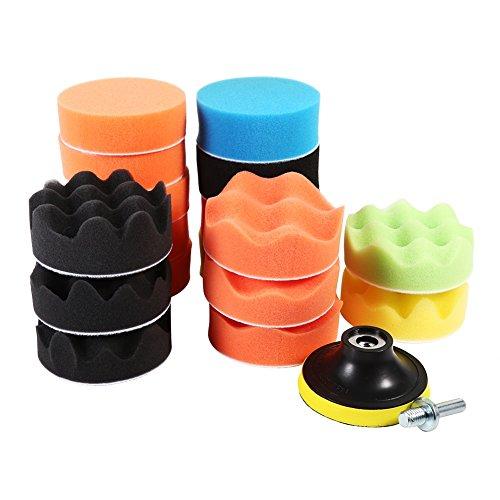 Yosoo 19Pcs Sponge Buffing Buffer Pad Polishing Waxing Kit Set Auto Car Polisher(M10 Drill Adapter)