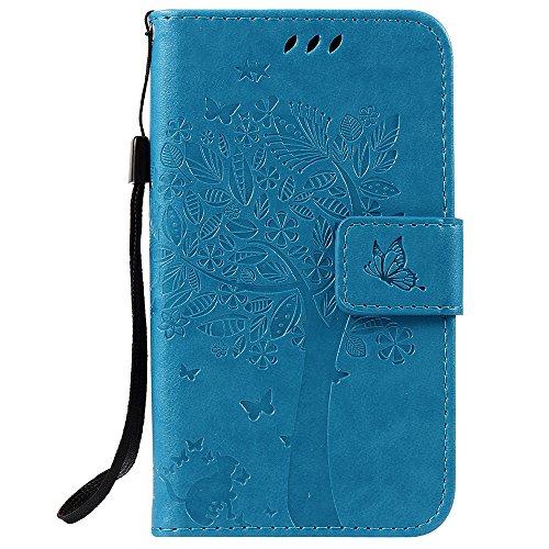 C-Super Mall-UK LG K3 hülle: Geprägte Baum Katzen-Schmetterlings-Muster PU-Leder-Mappen-Standplatz -Schlag-hülle für LG K3(blau)