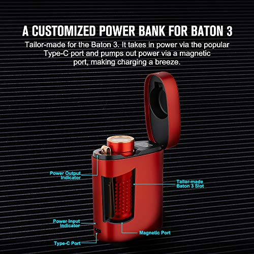 OLIGHT Baton 3 Premium Edition Pocket Torch Powered by Customized 550mAh 3.7V IMR16340 Battery, Max 1200 Lumens LED Compact Torch Flashlight with Wireless Charger for Camping Hiking Dog Walking (Red)