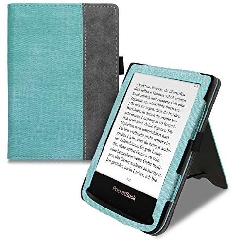 kwmobile Case Compatible with Pocketbook Touch Lux 4/Lux 5/Touch HD 3/Color (2020) - PU Leather Synthetic Suede Cover with Magnetic Closure, Kickstand, Hand Strap, Card Slot - Mint/Dark Grey