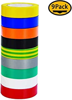Multicolor 17mm x 20M (0.67``x65`) Electrical Tape Viaky Waterproof Vinyl Insulating Backing Insulation Tapes, 9 Color 9 Roll