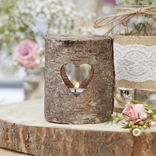 Ginger Ray Natural Wood & Glass with Heart Wedding Tea Light Holders Rustic Country