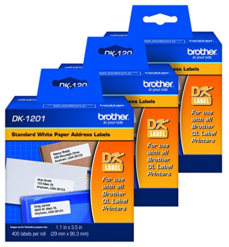 Brother Genuine DK1201 Die-Cut Standard Rolled Address Labels for QL Printers, 3-Pack (DK12013PK)