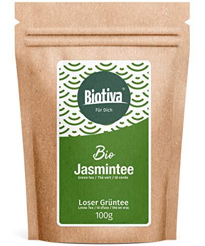 Jasmintee Bio 100g - Top China Qualität - Spitzenpreis - Dunkelgrünes Blatt, stark durchsetzt mit weißen Blattknospen - DE-ÖKO-005