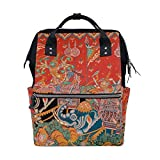 NHJYU Thai Native Mura Painting Art Travel Zaino Large Nappy Borsa per pannolini Laptop Zainos for Women Men