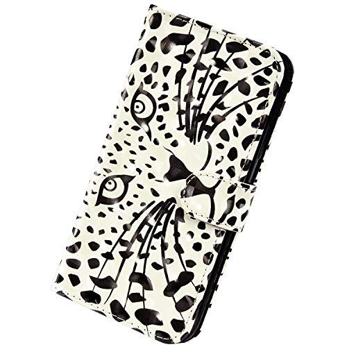 Herbests Kompatibel mit Samsung Galaxy A6 2018 Handyhülle Handytasche Leder Hülle 3D Bunt Glitzer Bling Glänzend Muster Leder Schutzhülle Flip Case Brieftasche Wallet Tasche,Weiß Leopard