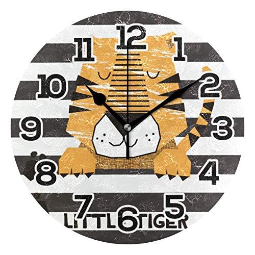 BONIPE - Reloj de Pared con diseño de Tigre de Dibujos Animados con R