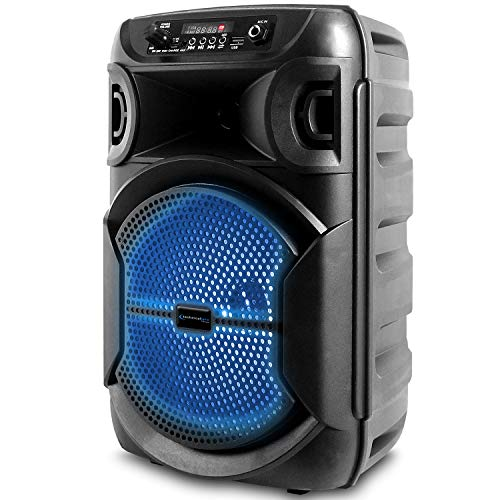 Portable 8 Inch Portable 800 watts Bluetooth Speaker with Woofer & Tweeter, Festival PA LED Speaker with Bluetooth/USB Card Inputs, True Wireless Stereo, 30 Feet Bluetooth Range