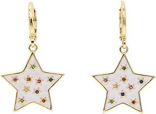 ATJMLADYJEWELRY 2019 Fashion Jewelry Gold Plated White Enamel Star Drop Charm Trendy Women Drop Earring