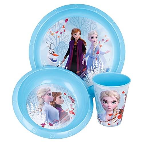 Set Stoviglie Servizio da Tavola per Bambini 3 Pezzi con Piatto, Ciotola e Bicchiere Easy 260 ml in confezione regalo Frozen