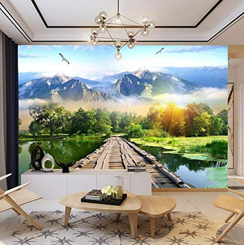 3D stereoscopisch tv-achterwandschilderij, woonkamer, film, muur, bank, decoratie, pastoral, natuurlandschapsfresko. 350×245cm 350 × 245 cm.