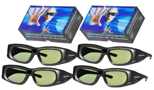 Sharp 3D Glasses Compatible Ultra-Clear HD for Sharp 3D TV's Rechargeable 4 Pack
