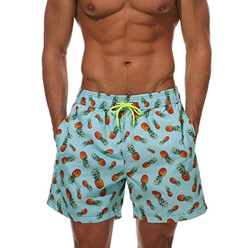 BELLOO Herren Swim Trunks Sommer Badeshorts Beach Badehose für Surfen,Ananas XXXL