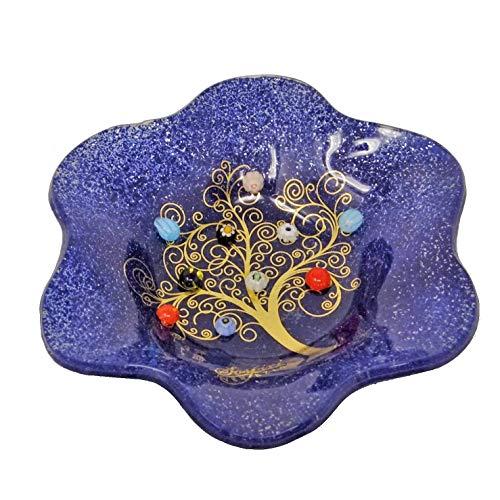 SOSPIRI VENEZIA Cuencos de cristal de Murano con diseño de árbol de la vida, 19 x 19 cm, de vidrio, con diseño de murrina y hoja dorada, hecho a mano por artesanos Venecianos (azul)