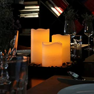 """Flameless Candles LED Candles Battery Operated Candles Flickering Bulb Pillar Ivory Real Wax Electric Candles with Remote and Timer, Ivory, 3""""x 4"""" 5"""" 6"""" Set of 6"""