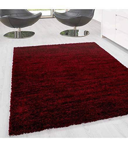 Carpettex Teppich Shaggy, Pelo Largo Salón Prime Alfombra Shaggy Altura del Hilo de 3cm unifarbe - Rojo, 60x110 cm