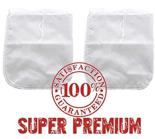 2 Pack! Bright Kitchen PREMIUM Nut Milk Bag - Super Fine Nylon Mesh Almond Mylk Strainer