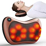 Electronic Massage Pillow Shiatsu Deep Kneading Neck Back Shoulder Massager Cushion 8 Rollers with Heat for Car, Home, Office Black
