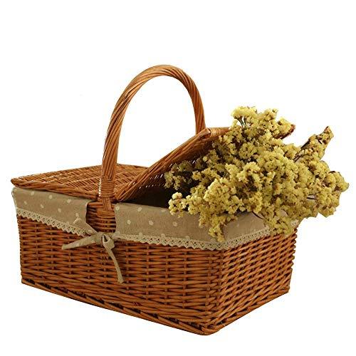 DGHJK Picknickkorb Rebe tragbar und praktisch mit bedecktem Korb tragen Outdoor-Küche Lebensmittel...
