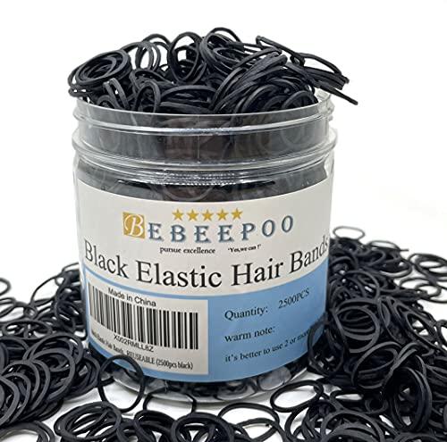 black Elastic Hair Bands,BEBEEPOO 2500pcs Mini Hair Rubber Bands with a Box, Soft Hair Elastics Ties Bands - STRONG - REUSEABLE (2500pcs black)