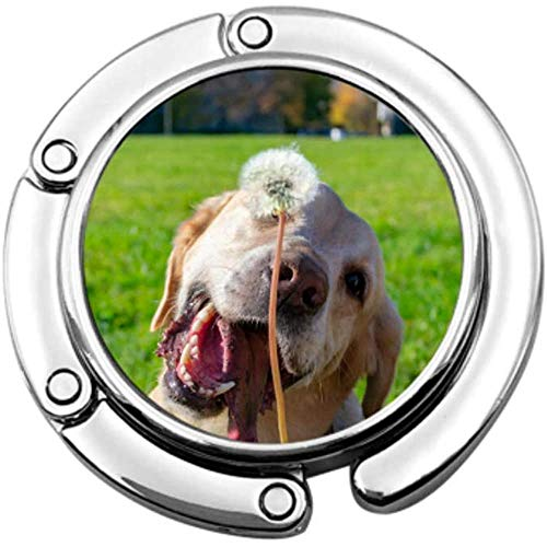 Purse Hook Dog Eats Dandelions Grass Vitamin Deficiency Folding Handbag Table Hanger-Bag Hanger Collection-Desk Hooks
