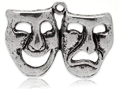 5 x máscara teatro Comedia y Tragedia (perlas de plata