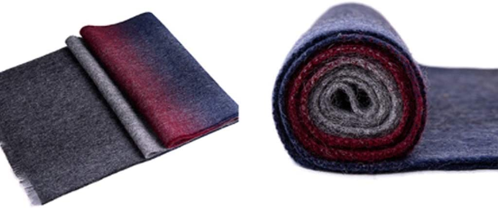 HJHJ Fashion Scarf Men's Scarf in Winter, 100% Pure Wool Scarf Rectangular Warm and Comfortable Knitted Shawl Thanksgiving Gift for Parents Scarf Gift (Color : Gradient red)