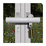 French Patio Door Lock 'Curved Box Section' High Security Deadlock Sliding Fix Bar Seen from Outside Tough and Easy