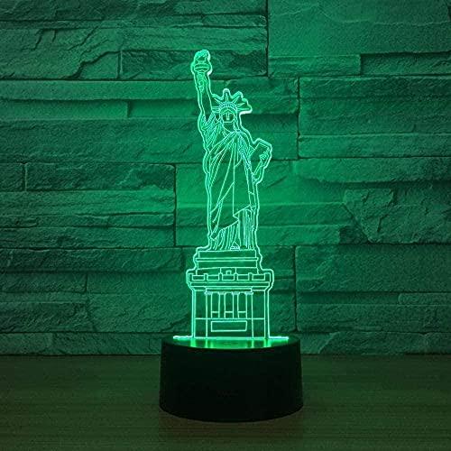 Lonfencr Lámpara con cables USB Estatua de la Libertad que cambia de color Lámparas de escritorio LED 16 Color Navidad regalo cumpleaños USB Powered Touch Button