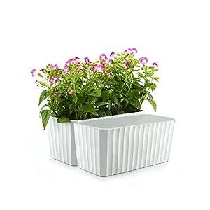 ComSaf Auto Riego Plantador Blanco 28CM Cuadrado Paquete de 2, Planta Maceta Cajas para Interiores Al Aire Libre Jardines de Windowsill Idea Regalo para Cumpleaños y Boda y Navidad