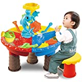 TEMI Beach Sand Toys Set with Activity Sand Water Table, Storage Sandbox Desk Playset to Create Summer Fun, Outdoor Toys w/ Dolphin Water Wheel, Molds, Bucket, Shovel for Kids, Boys and Girls (Round)