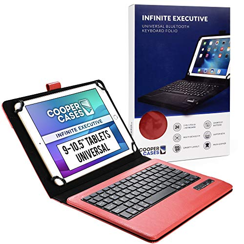 Cooper Infinite Executive Keyboard Case for 9-10.5 inch tablets | Universal Fit | 2-in-1 Bluetooth Wireless Keyboard & Leather Folio Cover (Red)