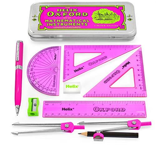 Helix Oxford Clash Maths Set - Limited Edition - 9 Piece Set - Pink + Premium Ballpoint Pen - Pink Barrel