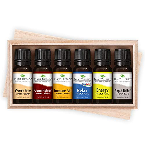 Plant Therapy Top 6 Synergies Set | Essential Oil Blends for Sleep, Stress, Muscle Relief, Energy, Health, in A Wooden Box | 100% Pure, Undiluted, Natural Aromatherapy, Therapeutic Grade | 10 mL