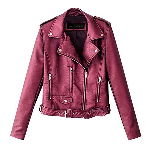 Aniywn Women's Faux Leather Motorcycle Biker Jacket Slim Short Ladies Lapel Bike Zipper Coat with Pocket Wine