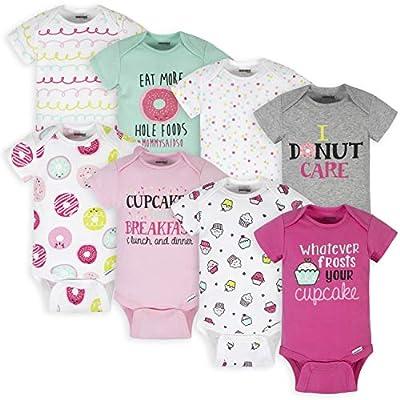 Onesies Brand Baby Girls' 8-Pack Short Sleeve Printed Bodysuits, Pink Sweet Treats, 6-9 Months by Onesies Brand