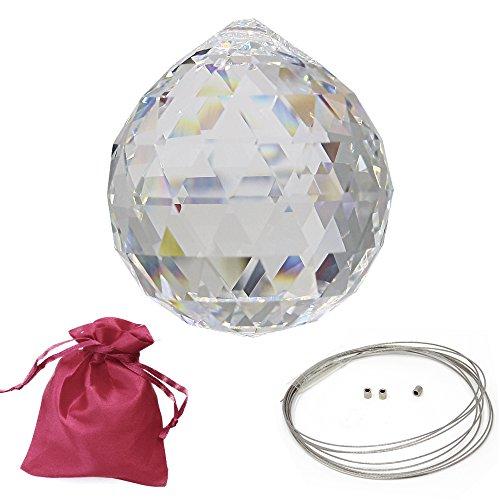 Juego de cristal de Swarovski Strass Crystal bola (Diámetro 40mm con bolsas de regalo y accesorios Decorar ventanas colgar arco iris de cristal Feng Shui sol atrapasueños Waldorf