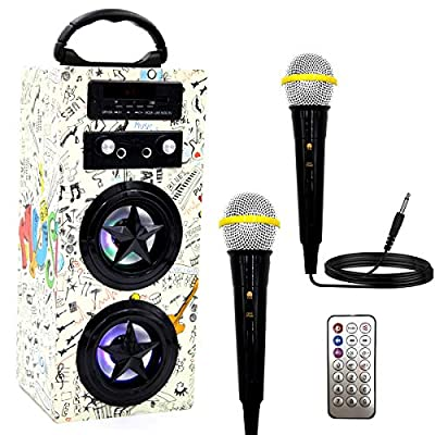 IndeCool Kids Bluetooth Karaoke Machine with 2 Microphones, Wireless Karaoke Speaker Portable Karaoke Machine Music MP3 Player for Kids Adult Party Gift by IndeCool