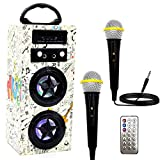 IndeCool Kids Bluetooth Karaoke Machine with 2 Microphones, Rechargeable Remote Control Wireless Speaker Portable Karaoke Machine Music MP3 Player for Kids Adult Party Gift (Dual Horns Doodle)