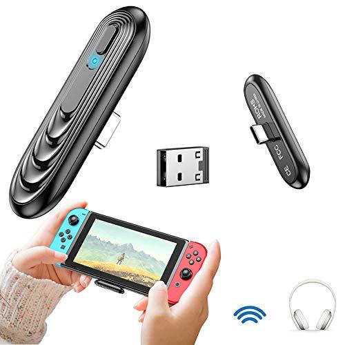 Bluetooth Audio Adapter kompatibel mit Nintendo Switch/ Switch Lite PS4 PC,TV, Bluetooth 5.0 USB Sender niedrige Latenz mit USB-C zu A Konverter für Bluetooth Kopfhörer Bose Plug&Play
