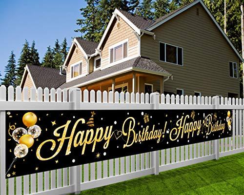 HOWAF Geburtstag Party Dekoration, Extra Großes Schwarzes Gold Geburtstag Banner, Happy Birthday Banner Geburtstag deko für Frau Männer Mädchen Jungen 13. 16. 18. 21. 30. 40. 50. 60.70 Geburtstag