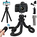 Naohiro Phone Camera Gopro Tripod, Portable and Flexible Phone Tripod Stand with Wireless Remote and Phone Holder, Tripod for iPhone/Android Smartphone/Camera/Sports Camera